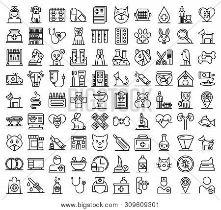 Veterinarian Icons Set. Outline Set Of Veterinarian Vector Icons For Web Design Isolated On White Ba
