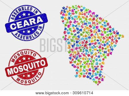 Puzzle Ceara State Map And Blue Assembled Stamp, And Mosquito Scratched Stamp. Bright Vector Ceara S