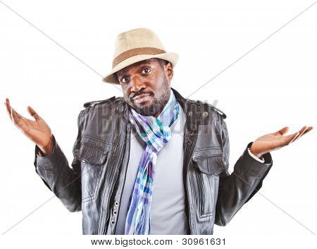 Young black man amazed - isolated over white background.