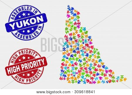 Element Yukon Province Map And Blue Assembled Seal, And High Priority Grunge Seal. Colorful Vector Y