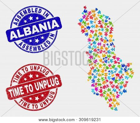 Element Albania Map And Blue Assembled Seal, And Time To Unplug Distress Seal. Colored Vector Albani