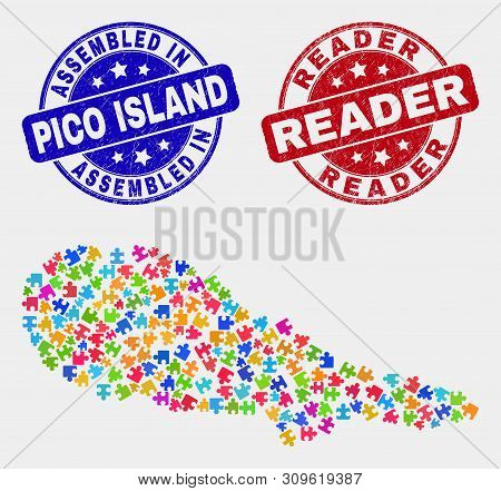 Module Pico Island Map And Blue Assembled Seal Stamp, And Reader Textured Seal. Colored Vector Pico