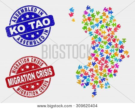 Puzzle Ko Tao Map And Blue Assembled Seal Stamp, And Migration Crisis Textured Seal Stamp. Bright Ve