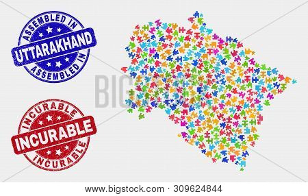 Puzzle Uttarakhand State Map And Blue Assembled Seal Stamp, And Incurable Distress Seal Stamp. Color