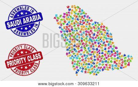 Bundle Saudi Arabia Map And Blue Assembled Seal Stamp, And Priority Class Grunge Seal Stamp. Colorfu
