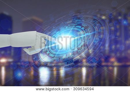 Robot Hand Touching Virtual Screen Technology, Artificial Intelligence Technology Concept
