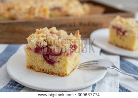 Home Made Cherry Streusel Cake With Vanilla Pudding