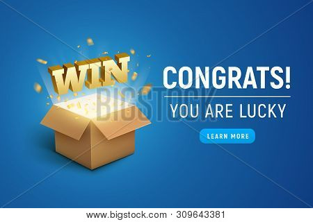 Gift Prize Box Lottery Win Text. Magic Box Present For Winner, Enter Contest Reward. Congratulations