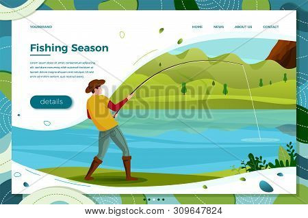 Vector Illustration - Fisherman On River Catching Trout. Forests, Trees, Mountains And Hills On Gree