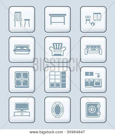 Modern home furniture gray icon-set