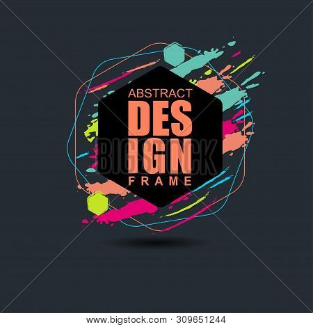 Vector Frame For Text Modern Art Graphics For Hipsters. Element For Design Business Cards, Invitatio