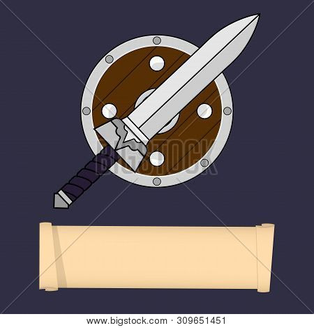 Warrior, Barbarian, Knight Classes. Attributes Of Warrior Class Isolated On White Background. Select