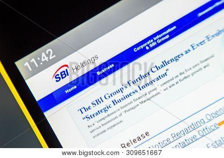 Berdyansk, Ukraine - April 2, 2019: Illustrative Editorial Of Sbi Holdings Website Homepage. Sbi Hol
