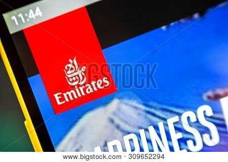 Berdyansk, Ukraine - April 2, 2019: Illustrative Editorial Of Emirates Website Homepage. Emirates Lo