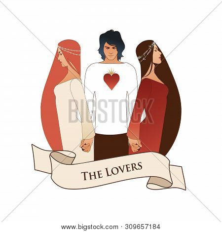 Major Arcana Emblem Tarot Card. The Lovers. Young Man Holding Two Beautiful Women By The Hand. T-shi