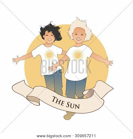 Major Arcana Emblem Tarot Card. The Sun. Two Happy Twin Boys Running With Open Arms In Front Of The