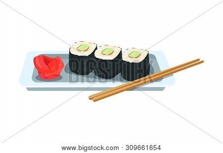 Delicious Dish - Asian Rolls And Sushi, With Ginger And Wasabi.
