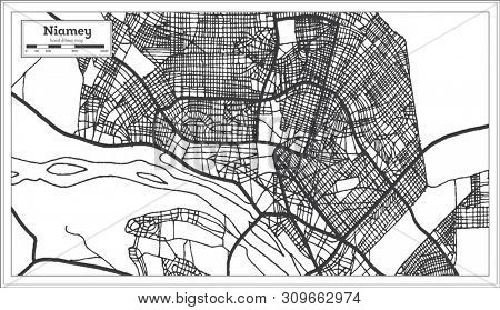 Niamey Niger City Map in Black and White Color. Outline Map.