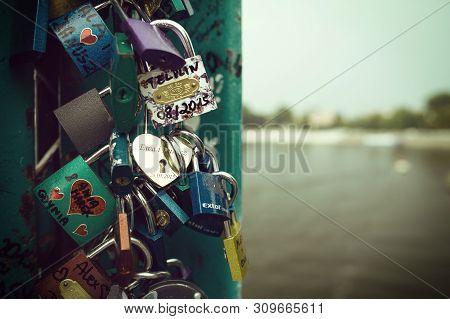 Wroclaw, Poland - 16 August, 2015. Many Padlocks On The Love Bridge In Wroclaw
