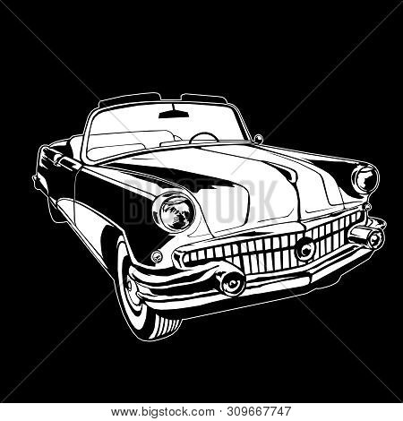 Cabriolet 1950-60s Retro Vintage Vector Monogram Hand Drawing White On Black Background