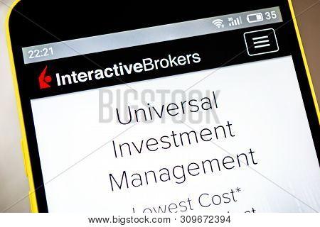 Berdyansk, Ukraine - April 9, 2019: Illustrative Editorial Of Interactive Brokers Group Website Home