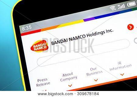 Berdyansk, Ukraine - April 10, 2019: Illustrative Editorial Of Bandai Namco Holdings Website Homepag