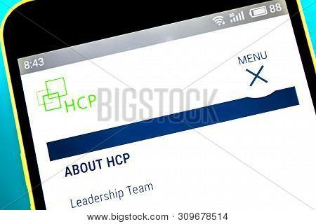 Berdyansk, Ukraine - April 10, 2019: Illustrative Editorial Of Hcp Website Homepage. Hcp Logo Visibl