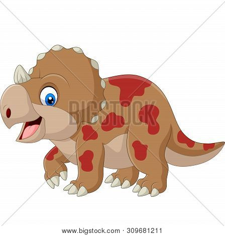 Vector Illustration Of Cute Triceratops Cartoon On White Background