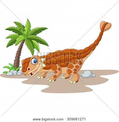 Vector Illustration Of Cartoon Ankylosaurus Dinosaur On White Background