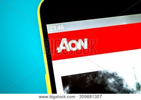 Berdyansk, Ukraine - April 12, 2019: Illustrative Editorial Of Aon Website Homepage. Aon Logo Visibl