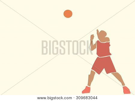 Basketball Player With A Ball. Single Silhouette. Active Pose. Sport Illustration. Applique Or Paper