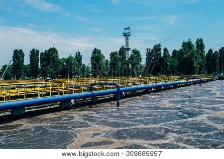 Modern Wastewater Treatment Plant. Tanks For Aeration And Biological Purification Of Sewage By Using
