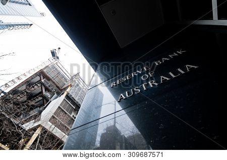 Melbourne, Australia - July 26, 2018: Reserve Bank Of Australia Name On Black Granite Wall In Melbou