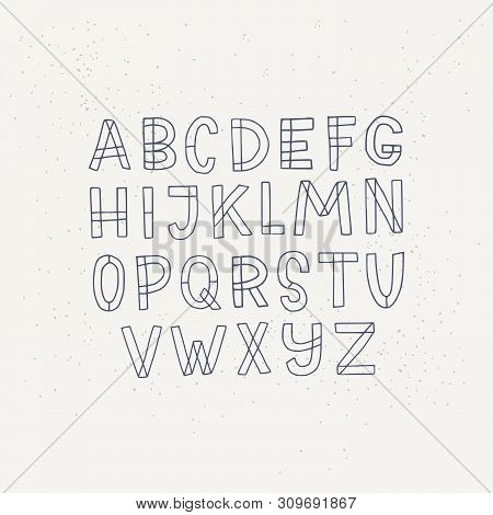 Hand Drawn Sans Serif Block Letters Alphabet. Cartoon English Abc In Outlines. Line Drawing Typograp