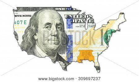 An 100 Us-dollar Banknote In Shape Of Usa