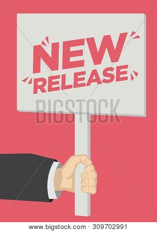 Retail Sale New Release Shoutout With A Placard Banner Against A Red Background. Concept Of Sales, C