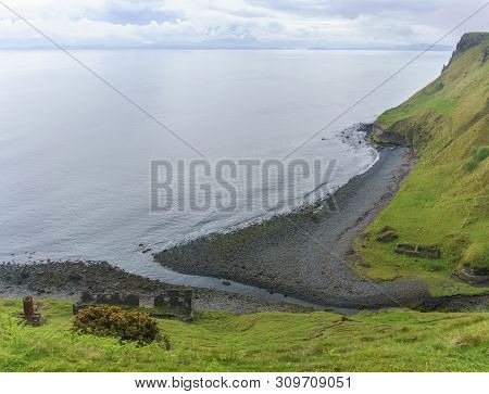 Panoramic Image Of An Cailc , The Mining Of Diatomite On Skye ,  Lealt , Scotland