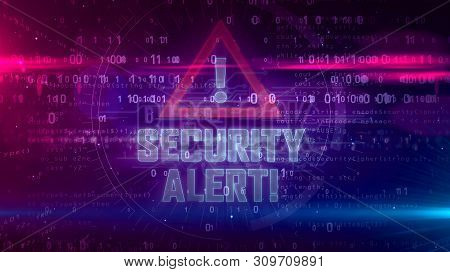 Security Alert Hologram Intro On Dynamic Background. Modern And Futuristic Concept Of Cyber Attack,