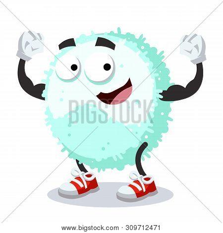 Cartoon Leukocyte Character Mascot Shows Its Strength