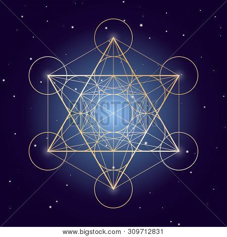Metatron Cube Symbol On A Starry Sky, Elements Of Sacred Geometry