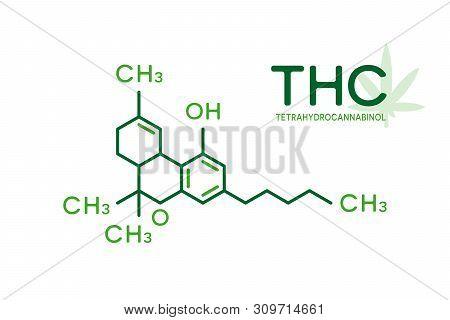 Thc Molecular Formula. Tetrahydrocannabinol Molecule Structure On White Background.
