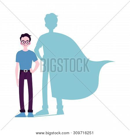 Motivated Man Icon With Superhero Shadow Flat Vector Illustration Isolated.