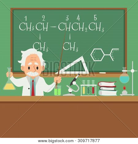 Professor Or Scientist Teaching In College Or University Flat Vector Illustration.