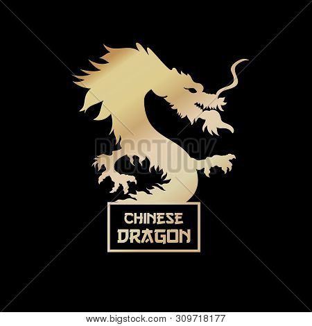 Chinese Dragon Black Silhouette Vector Illustration. Traditional Chinese Mythological Creature. Lege
