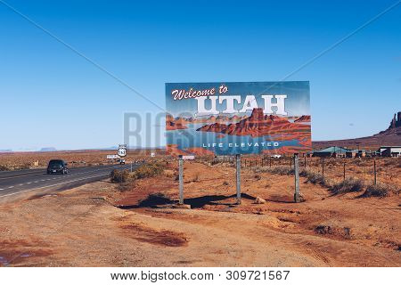 Oljato - Monument Valley, Utah, Usa - October 19, 2018 : Welcome To Utah State Sign Situated Along U