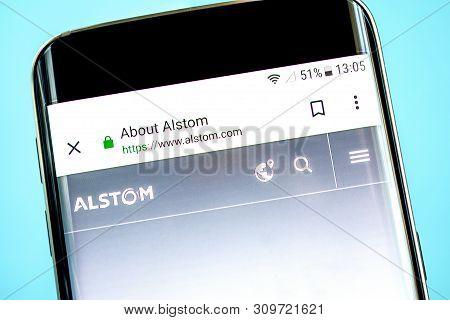 Berdyansk, Ukraine - 14 June 2019: Alstom Website Homepage. Alstom Logo Visible On The Phone Screen,