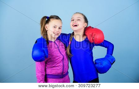 Competitors On Ring And Friends In Life. Girls In Boxing Sport. Boxer Children In Boxing Gloves. Con