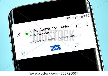 Berdyansk, Ukraine - 14 June 2019: Kone Website Homepage. Kone Logo Visible On The Phone Screen, Ill