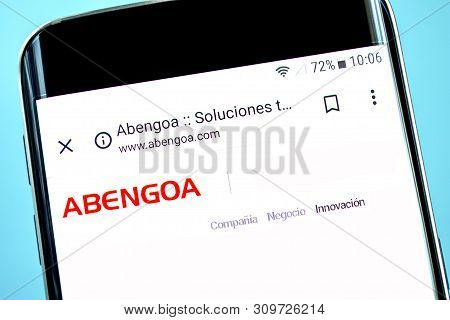 Berdyansk, Ukraine - 14 June 2019: Abengoa Website Homepage. Abengoa Logo Visible On The Phone Scree