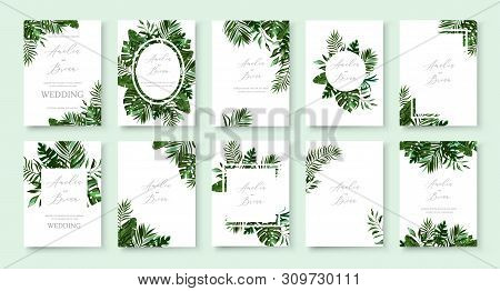 Set Of Wedding Invitation With Greenery Tropic Exotic Summer Card Save The Date Envelope Rsvp Menu T